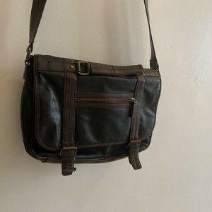Vintage black and brown faux leather messenger bag